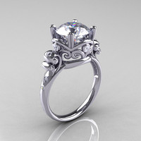 Modern Vintage 950 Platinum 2.5 Carat CZ Diamond Wedding, Engagement Ring R167-PLATDCZ