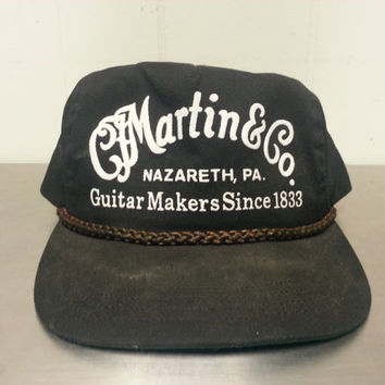 Vintage 90's Martin and Co Guitar Makers Nazareth Pennsylvania Black Snapback Dad Hat Made In USA Musical Instrument