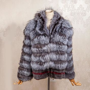 New winter Women Real Silver Fox Fur Coats Fashion Genuine Leather Jacket Striped Style Overcoat Women Mink Fur Outerwear Clothe