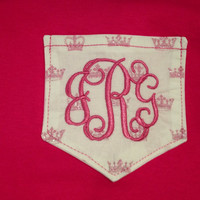 Pocket T Monogrammed Short Sleeve Shirt For Adults great for a Princess or Queen