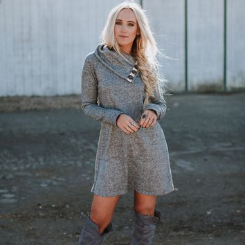 Stevie Button It Up Dress - Heather Gray