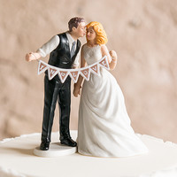 Shabby Chic Bride and Groom Porcelain Figurine Wedding Cake Topper with Pennant Sign - The Knot Shop