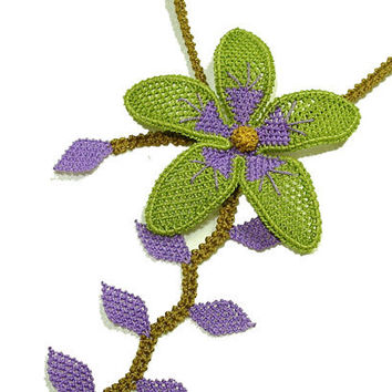 Flower Lace jewelry necklace purple lime green lilac drop leaf necklace bright nature boho floral necklace gypsy shabby tatting lace TAGT