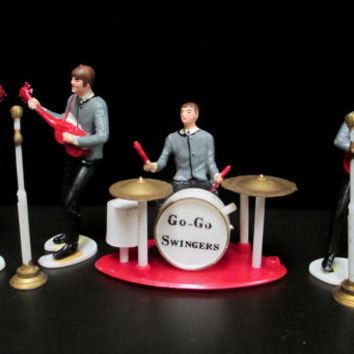 1960s Wilton Cake Toppers  Beatles  Go Go Swingers  Hard Plastic Figures Miniature Rock Band