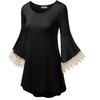 Black Gothic Crochet Bell Sleeve Sweetheart Casual Mini Dress