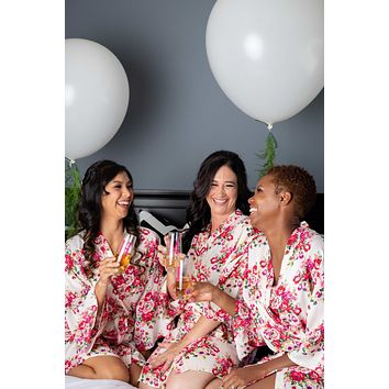 Ivory Floral Kimono Bridesmaid and Flower Girl Robes