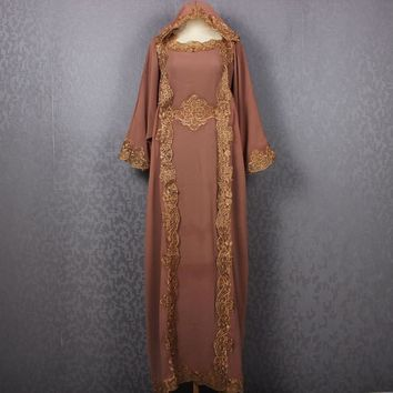 Wedding Bridesmaid Congregation Fancy Brown Womens Dubai Embroidery Hanukkah Special Hoodie Brown Kaftan Dress Caftan Maxi Dress