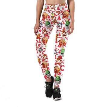 Ugly Christmas Party Women's White & Red Slim High Waisted Elastic Printed Fitness Workout Leggings