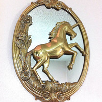 Vintage Unicorn Mirror Solid Brass Unicorn Mirror Brass Oval Mirror Wall Mirror Brass Mirror Fantasy Mirror Horses Mythical Art Nouveau