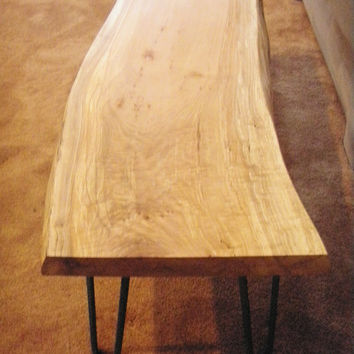 Maple slab coffee table with live edge, re-bar hairpin legs