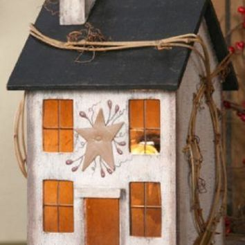 Primitive Whitewash Wooden Electric Lighted Saltbox House