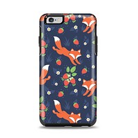 The Running Orange & Navy Vector Fox Pattern Apple iPhone 6 Plus Otterbox Symmetry Case Skin Set