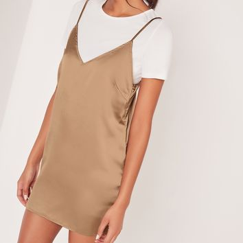 Missguided - Satin 2-In-1 Dress Gold