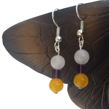 White Yellow Purple Handmade Bead Dangle Drop Earrings Jewelry Women Gift Swarovski Crystal Beads @MystifyGifts Gift for Her Boho Earrings