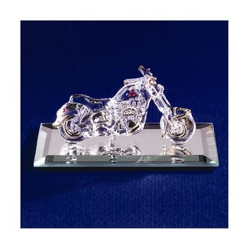 Motorcycle with Crystal Accents Glass Figurine