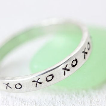 Kisses and Hugs - Sterling Silver Stack Rings - Handmade Personalized Jewelry - Hand Stamped Jewelry