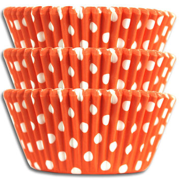 Orange Polka Dot Baking Cup