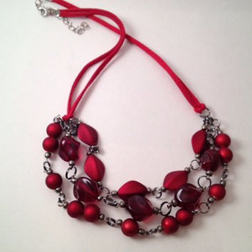 Red beaded necklace with suede chord  adjustable by MynisaUnique
