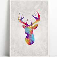 Deer Watercolor Print Deer Painting Deer Head Art Antler Stag Deer Print Minimalist Silhouette Art Wall Art Rustic Home Decor Gifts Woodland