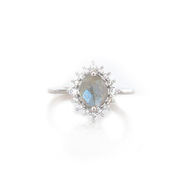 Sterling Silver Labradorite & Diamond Flowerburst Ring