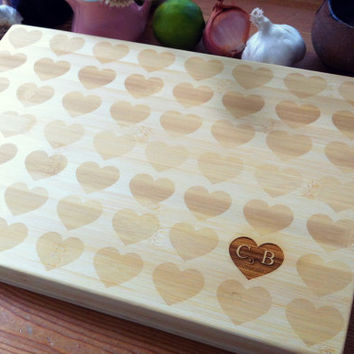 Custom Engraved Bamboo Chopping Block Hearts Pattern Personalized Cutting Board Heart and Initials Wedding, Engagement, Anniversary Gift