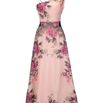 Streetstyle  Casual Asymmetric Neck Chiffon Plus Size Maxi Dress In Floral Printed