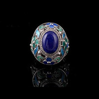 Hand crafted royal style filigree inlaid enamel sterling silver ring, one size fits all;mother's day gift, wedding gift, birthday gift