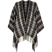 River Island Womens Grey plaid check blanket cape