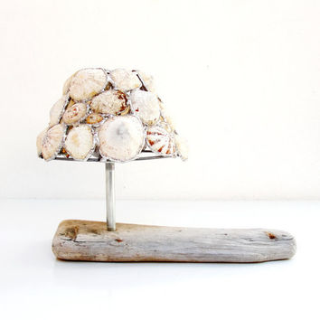 Sea Light - Tea Light Candle Holder - Soldered Limpet Shells, Metal, Driftwood