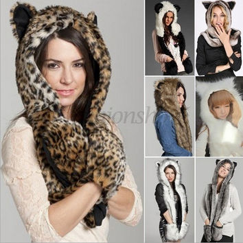 Women Lady Cute Full Animal Hood Hoodie Faux Fur Hat Winter Cap Color Brown = 1697286468