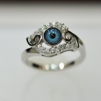 Evil Eye, sterling-Evil Eye, Silver & Cubic Zirconia Evil Eye Ring