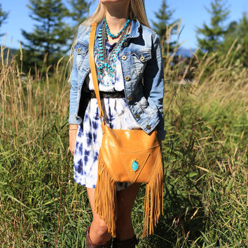 Leather Fringe Bag, Genuine Turquoise And Leather Bag, Cross Body Purse, Mustard, Golden Yellow, Southwestern Bags