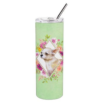 Chihuahua #2 Green Flowers Double Walled Stainless Steel 20 oz Skinny Tumbler CK4289TBL20
