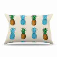 "Kess Original ""Fineapple"" Food Abstract Pillow Case"