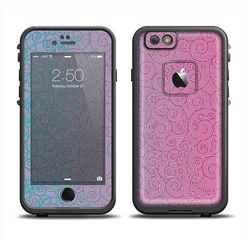 The OverLock Pink to Blue Swirls Apple iPhone 6 LifeProof Fre Case Skin Set