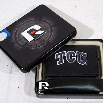 TCU Texas Christian Horned Frogs Embroidered Leather Trifold Wallet