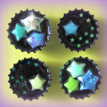 Upcycled Bottle Cap Magnets Handmade Paper Stars Confetti Resin Handmade Recycled Reclaimed Repurposed Eco Friendly Ceramic Magnet