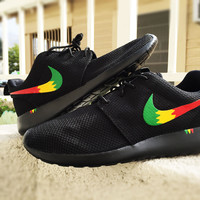 Custom Nike Roshe Run sneakers, Rasta design, Red Yellow and Green, Rastafari design, Men and Women