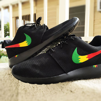 Custom Nike Roshe Run sneakers, Rasta design, Red Yellow and Green,  Rastafari design