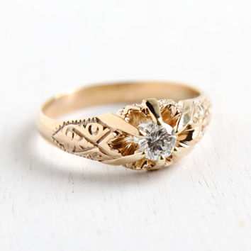 Antique Edwardian 14K Yellow Gold Solitaire 1/4 Carat Diamond Ring - Size 6 3/4 Edwardian Early 1900s Art Nouveau Fine Jewelry