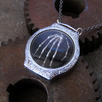 """Skeleton Hand Pendant """"Vault"""" Shadow Box Robotic Hand Necklace Reliquary Watch Stem Sculpture in Watch Case A Mechanical Mind Relic"""