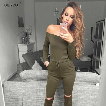Sibybo 6 Color New Rompers Womens Jumpsuit 2018 Sexy Off Shoulder Long Sleeve Autumn Elegant Bodycon Bodysuit Bandage Jumpsuits