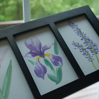 Series of 3 Purple Framed Flowers