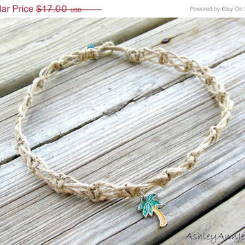 15% off CIJ SALE Hemp Necklace Macrame Switchback Knot Palm Tree Charm Eco-friendly For Women