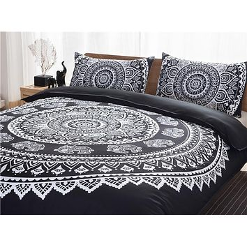 Boho Bedding Set 3pcs Bohemia Mandala Indian Elephant Duvet Cover Pillowcase Black White Queen King Size