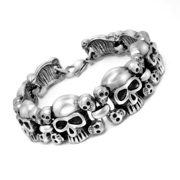Gift Hot Sale Great Deal New Arrival Awesome Shiny Titanium Men Stylish Accessory Birthday Gifts Skull Bracelet [6526718211]