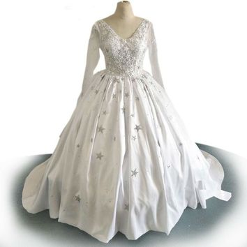Sheer Ball Gown Wedding Dresses Puffy 5 stars crystal shiny White Long Sleeve Wedding Gowns