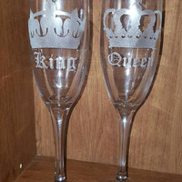 Laser Engraved Set of Crown King and Queen Champagne Flutes ~ Wedding ~ Royalty