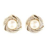 Pearl Knot Stud Earrings by Charlotte Russe - Gold