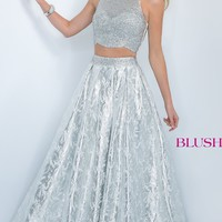 Sleeveless Metallic Two Piece Ball Gown by Blush